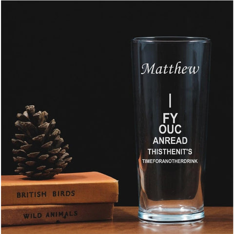 Personalised Engraved One Pint Glass - Eye Chart