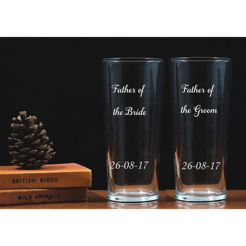 Two Personalised Engraved One Pint Glasses - Father of the Bride - Groom