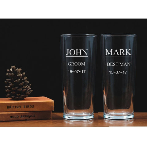 Two Personalised Engraved One Pint Glasses - Groom and Best Man