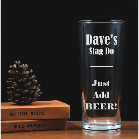 Personalised Engraved One Pint Glass - Stag Do