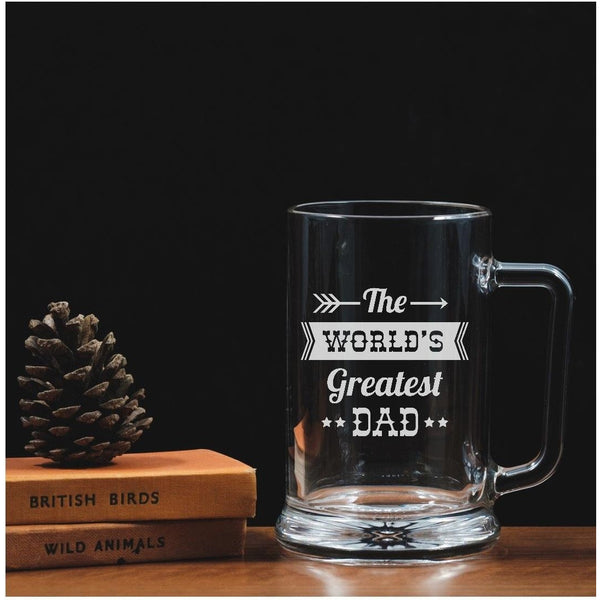Engraved One Pint Glass Tankard - World's Greatest Dad - The Spotted Moon Company