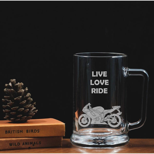 Engraved One Pint Glass Tankard - Motorbike - The Spotted Moon Company