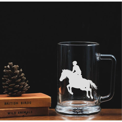 Engraved One Pint Glass Tankard - Horse