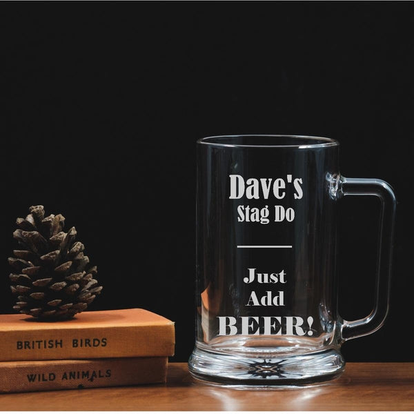 Personalised Engraved Glass Tankard - Stag Do - Wedding - The Spotted Moon Company
