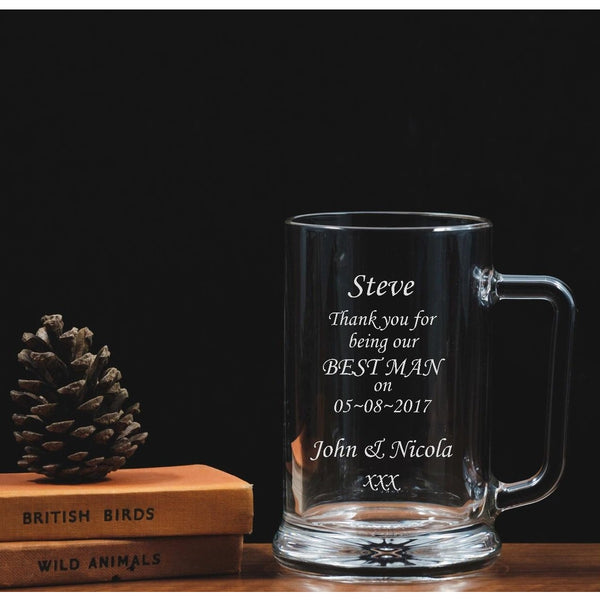 Personalised Engraved Glass Tankard - Thank you - Best man - The Spotted Moon Company