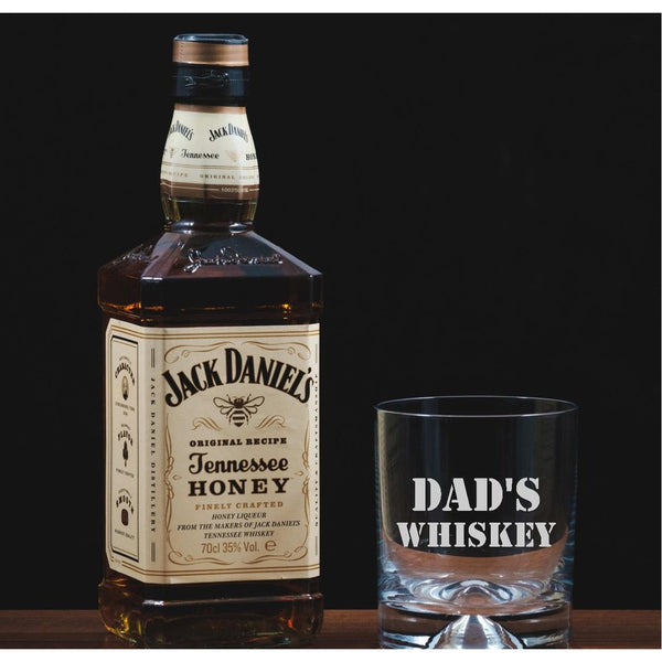 Dad's Whiskey - Personalised Engraved Glass Tumbler - The Spotted Moon Company
