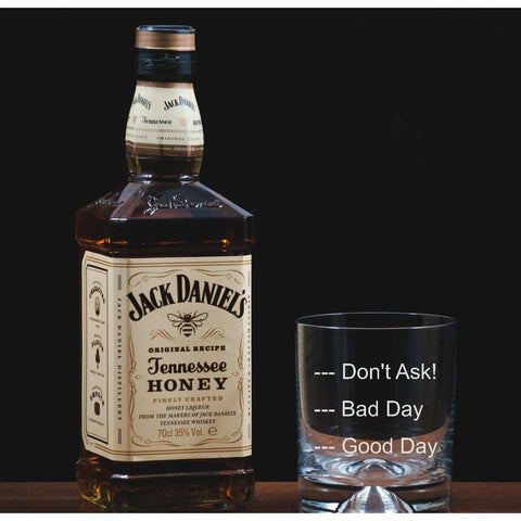 Good Day, Bad Day, Don't Ask - Engraved Glass Tumbler