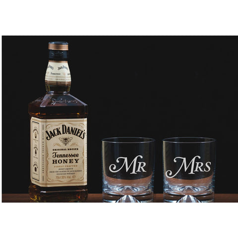 Mr and Mrs Engraved Glass Tumblers
