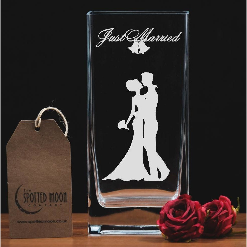 Just Married - Engraved Glass Vase - The Spotted Moon Company
