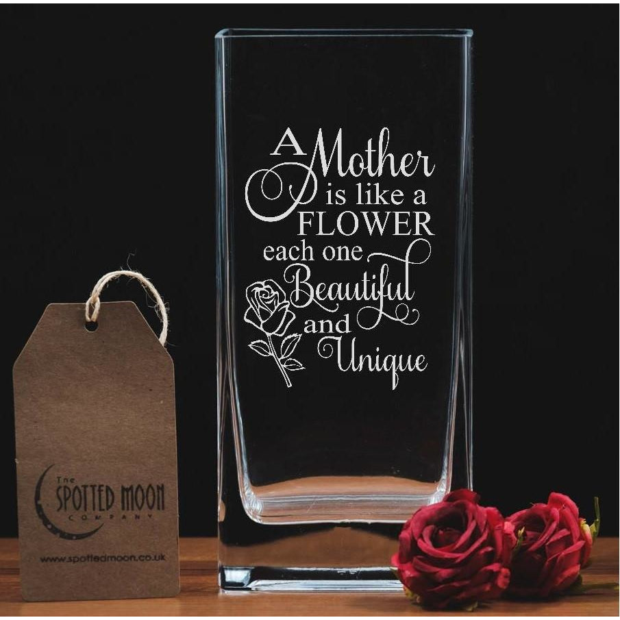 A Mother is Like A Flower - Engraved Glass Vase - The Spotted Moon Company