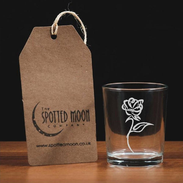 A beautiful engraved flower glass votive/tea light holder - The Spotted Moon Company