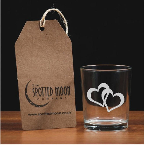 A stunning engraved double entwined heart glass votive/tea light holder - The Spotted Moon Company