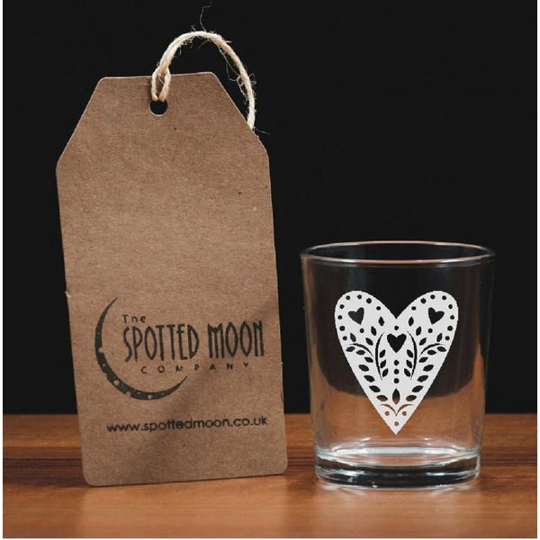 A lovely engraved tattered lace heart glass votive/tea light holder - The Spotted Moon Company