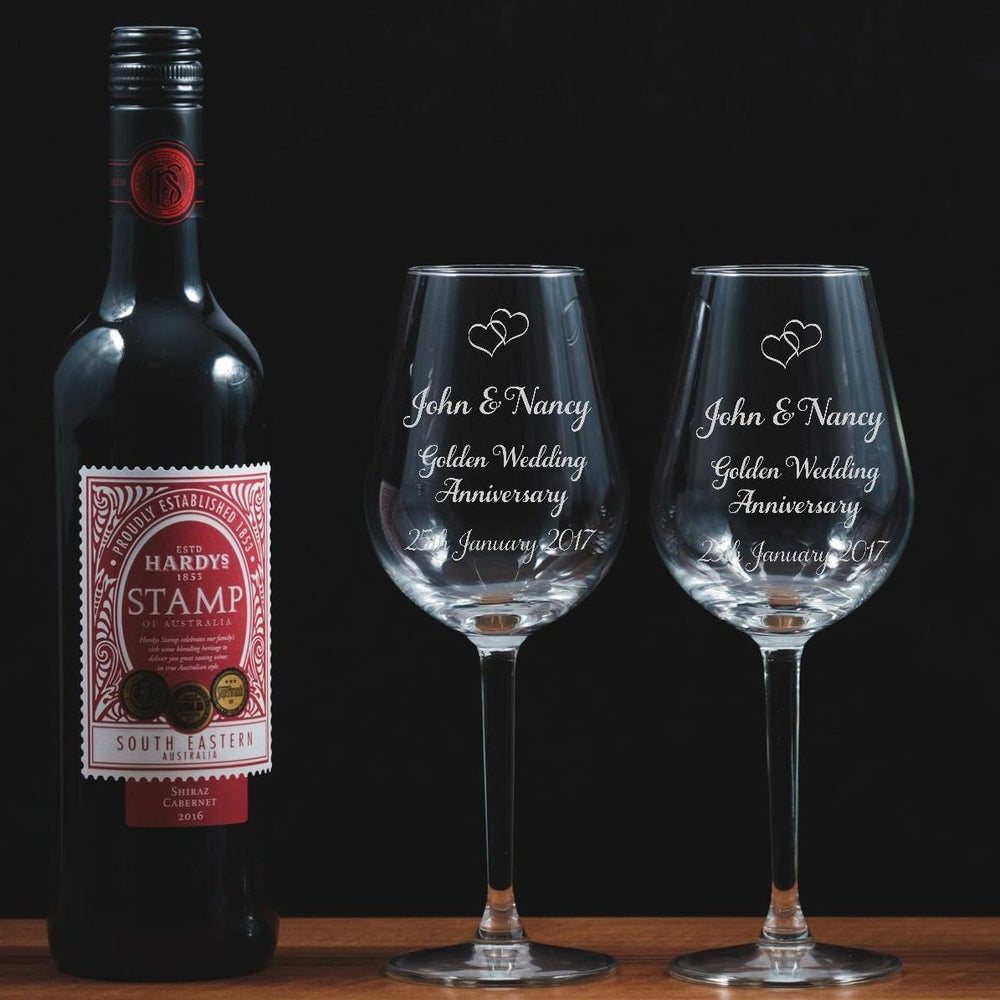 Personalised Engraved Wine Glasses - Golden Wedding - The Spotted Moon Company