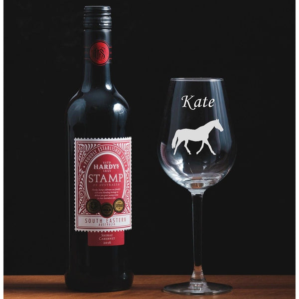 Personalised Engraved wine glass featuring a horse - The Spotted Moon Company