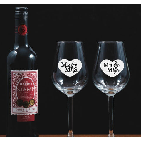 Two Mr & Mrs Engraved Wine Glasses