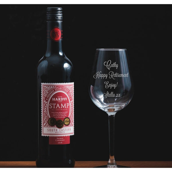 Personalised Engraved Wine Glass - Retirement - The Spotted Moon Company