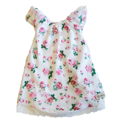 Katherine Dress in Pink Roses Fabric - Sebastian Kids Apparel