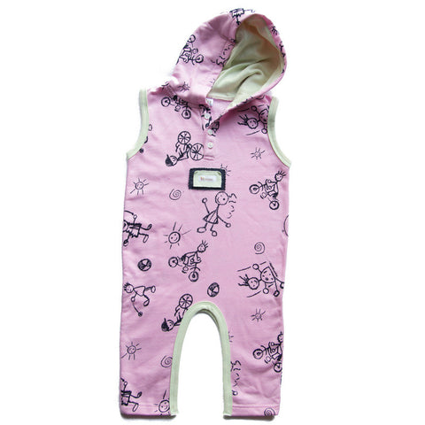 Sleeveless Hooded Playsuit - Pink - Sebastian Kids Apparel