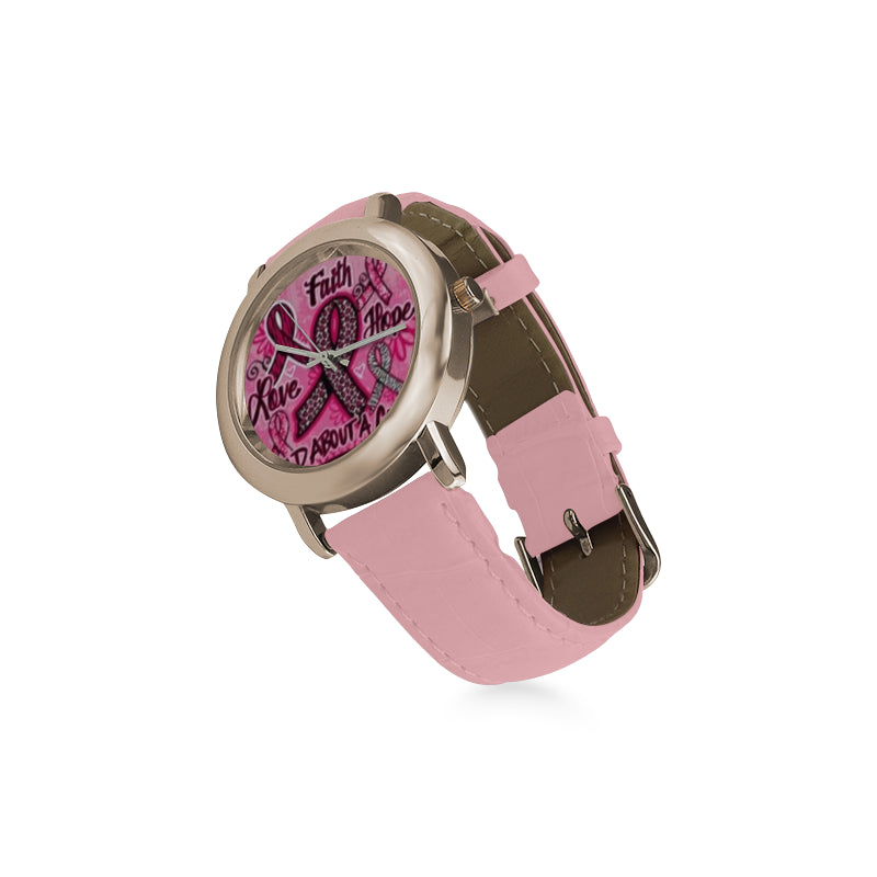 CANCER CURE WATCH LEATHER STRAP
