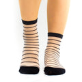 High See Through Black Lines Lady Sock