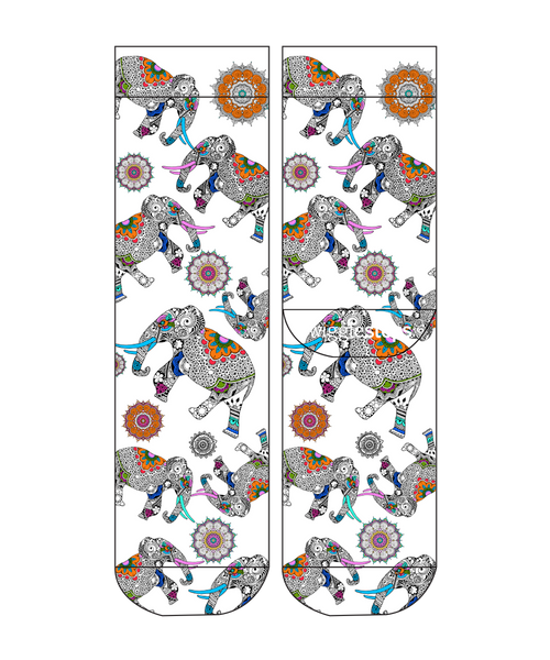 Mandala Elephants Lady Sock