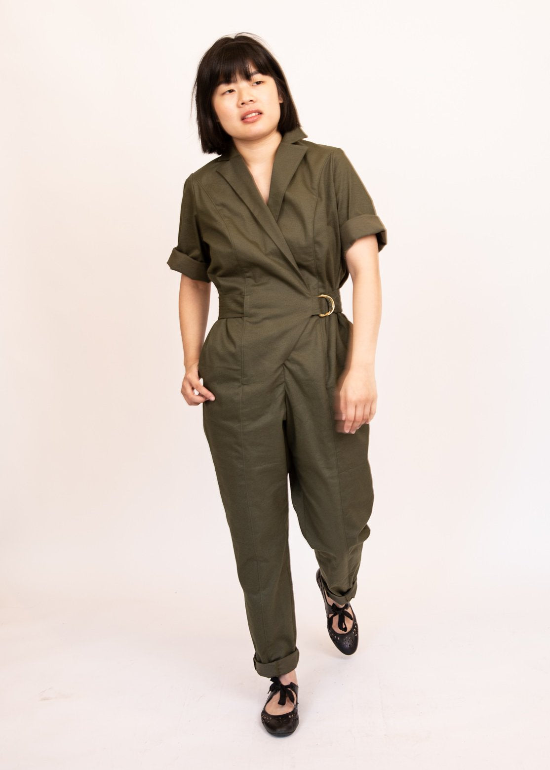 Wrap style boiler suit jumpsuit in olive green