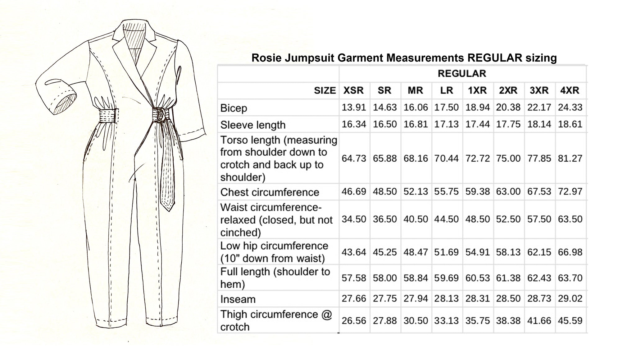 Garment measurements Rosie Jumpsuit regular