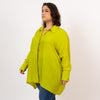 Chartreuse button down, plus size oversized button down