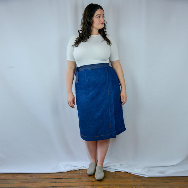 The Betty Wrap Skirt in Denim Hemp