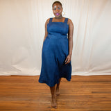 denim dress, pinafore dress, sustainable denim dress, sustainable plus size dress