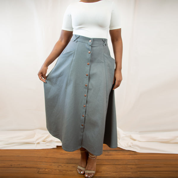 The Janis Midi Skirt in Hemp Canvas