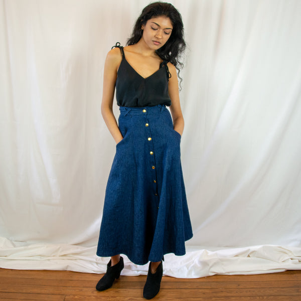 The Janis Midi Skirt in Denim