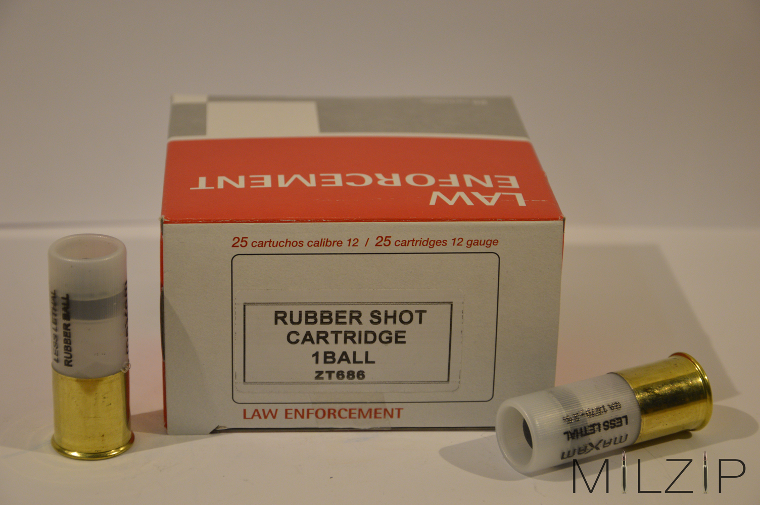 Law Enforcement Rubber Shot Gummischrot 12/70 mit 1 Kugel