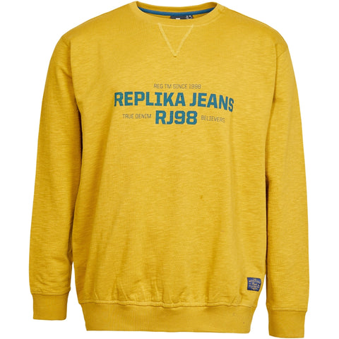 North 56°4 / Replika Jeans (Big & Tall) REPLIKA JEANS Logo slup yarn sweat Sweatshirt 0759 Mustard