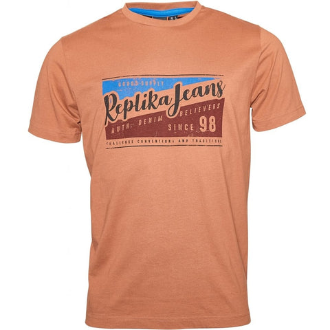 North 56°4 / Replika Jeans (Big & Tall) REPLIKA JEANS Printed tee T-shirt 0740 Cognac Brown