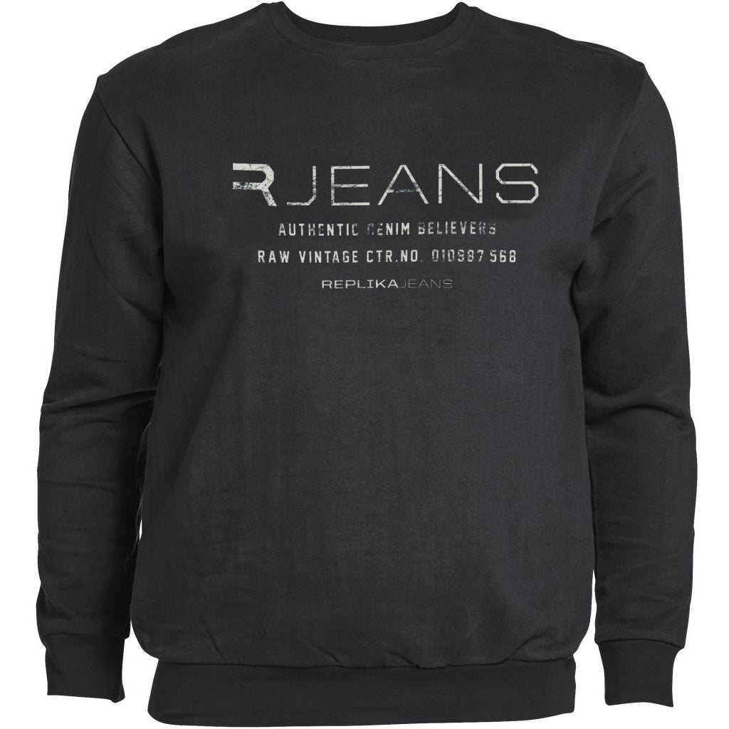 North 56°4 / Replika Jeans (Big & Tall) REPLIKA JEANS Crew neck sweat Sweatshirt 0099 Black