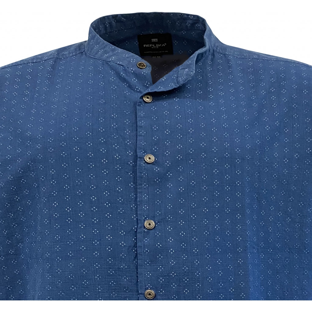 North 56°4 / Replika Jeans (Big & Tall) REPLIKA JEANS Printed shirt Shirt SS 0585 Indigo Blue