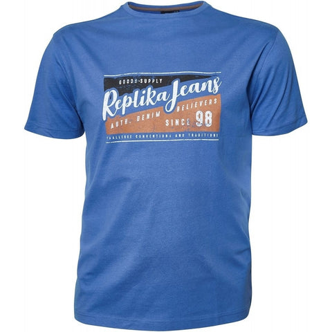 North 56°4 / Replika Jeans (Regular) REPLIKA JEANS Printed tee T-shirt 0565 Zephyr Blue