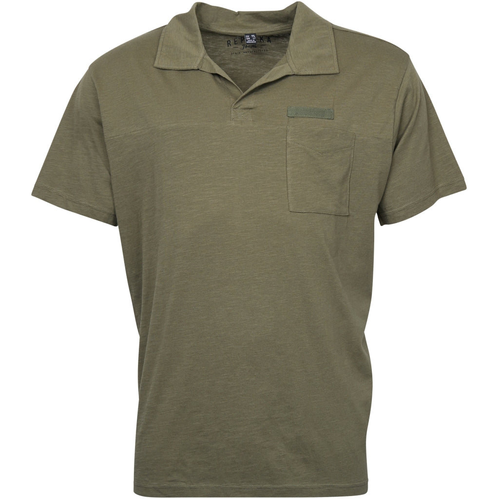 North 56°4 / Replika Jeans (Big & Tall) REPLIKA JEANS Polo w/v-neck T-shirt 0670 Army Green