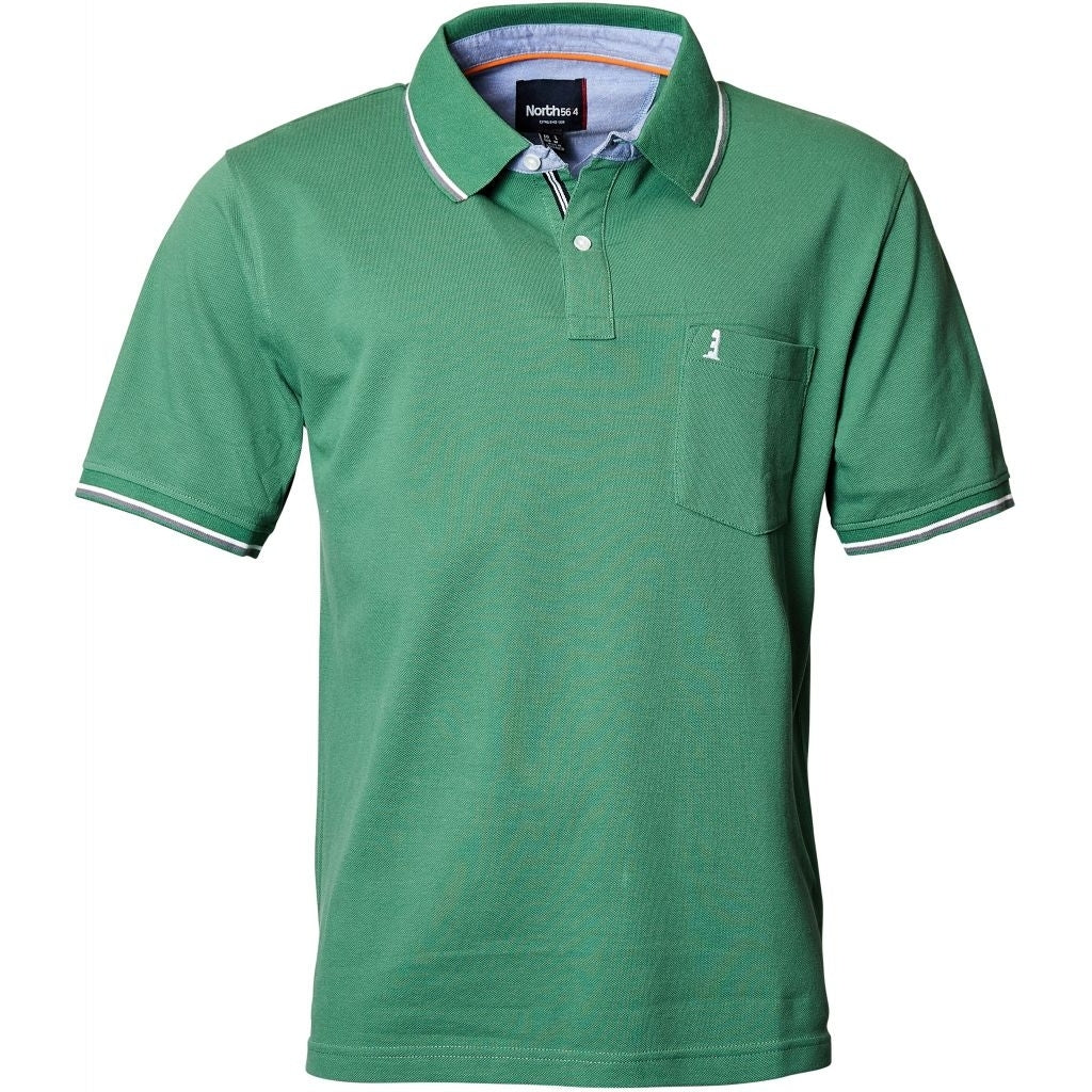 North 56°4 / Replika Jeans (Regular) North 56°4 Polo w/contrast collar T-shirt 0600 Green