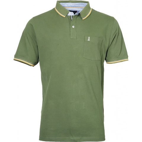 North 56°4 / Replika Jeans (Big & Tall) North 56°4  Polo w/contrast on collar T-shirt 0660 Olive Green