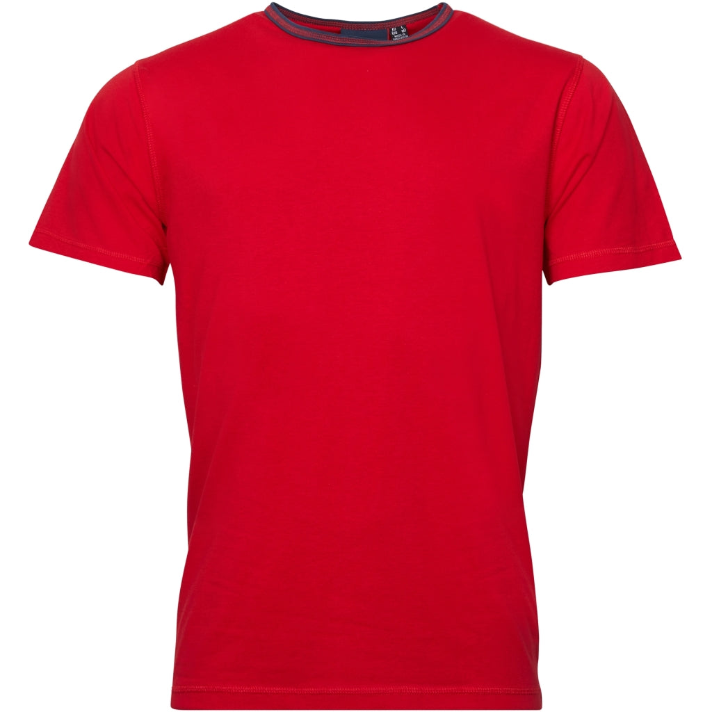 North 56°4 / Replika Jeans (Big & Tall) North 56°4 Contrast neck tee T-shirt 0300 Red