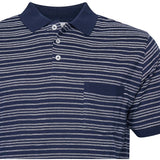 North 56°4 / Replika Jeans (Big & Tall) North 56°4 Striped sustainable polo T-shirt 0580 Navy Blue