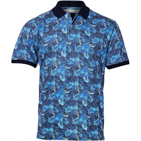 North 56°4 / Replika Jeans (Regular) North 56°4 Flower polo S/S T-shirt 0565 Zephyr Blue