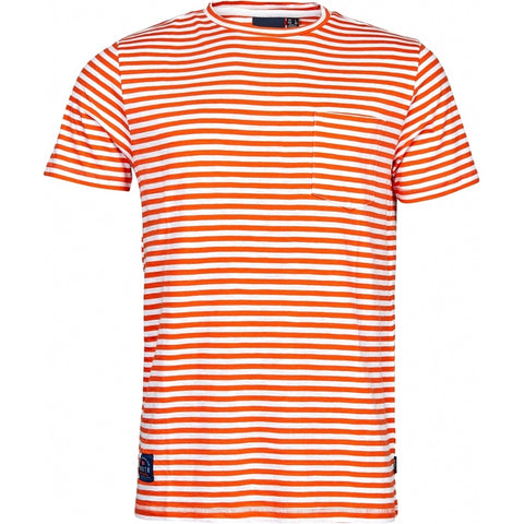 North 56°4 / Replika Jeans (Big & Tall) North 56°4 Striped t-shirt w/chest pocket T-shirt 0200 Orange