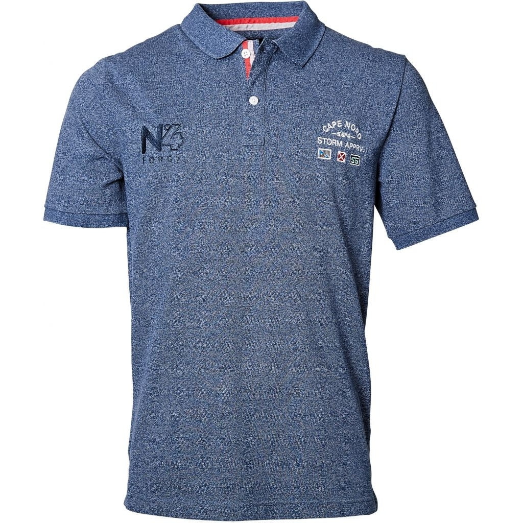 North 56°4 / Replika Jeans (Big & Tall) North 56°4 Polo w/embroidery T-shirt 0573 Navy Blue Melange