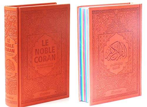 Noble Coran avec Pages Arc-en-Ciel (Rainbow) - Bilingue (Fr/Ar) - Couverture Daim Orange, Book, Yoorid, YOORID