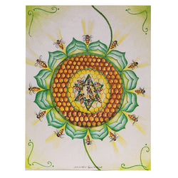 "Bee 4th Chakra Card 4.2""w x 5.25""l Artist M. Courmont"