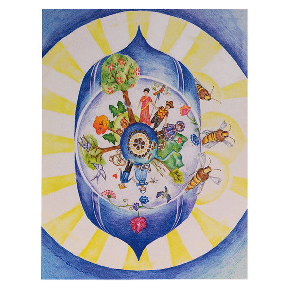 "Bee 6th Chakra Card 4.2""w x 5.25""l Artist M. Courmont"